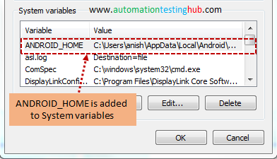 ANDROID_HOME added to System Variable