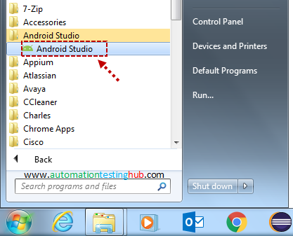 Open Android Studio from All Programs