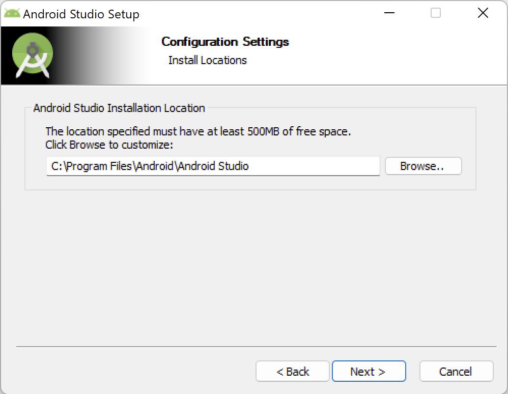 Android Studio - Install Location