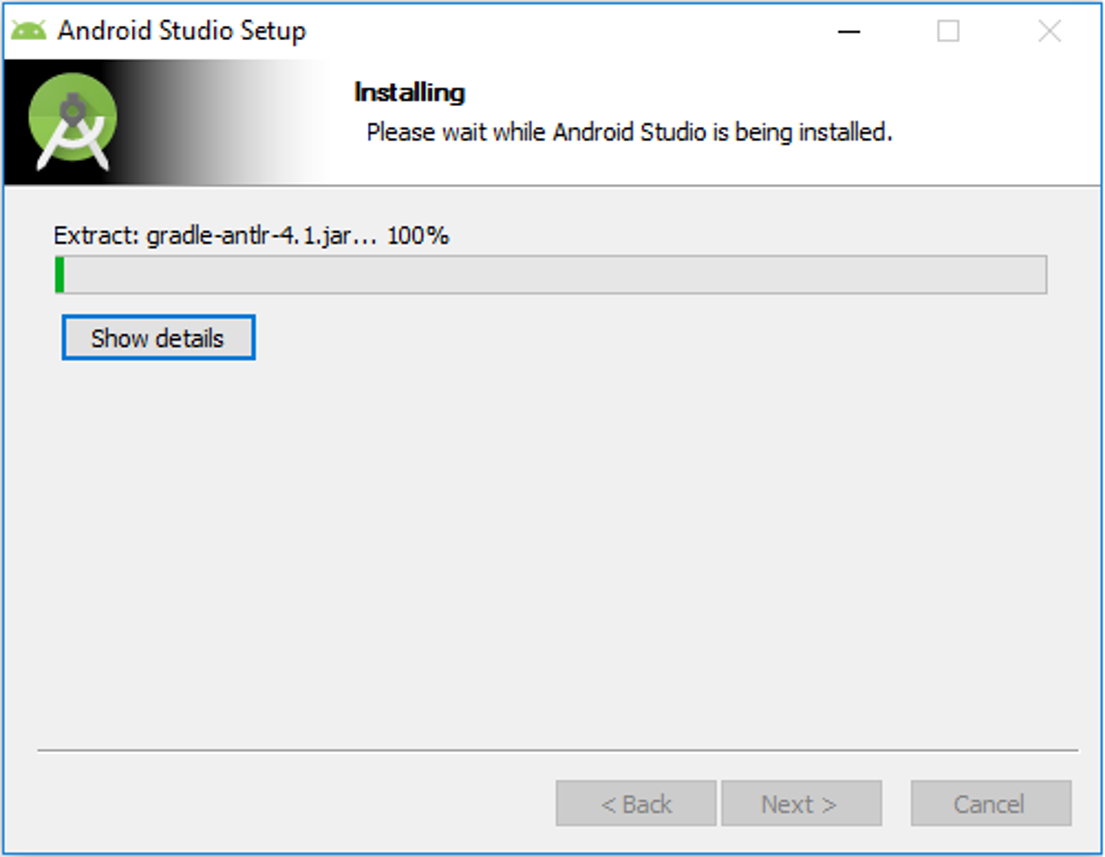 Android Studio Setup - Installation started