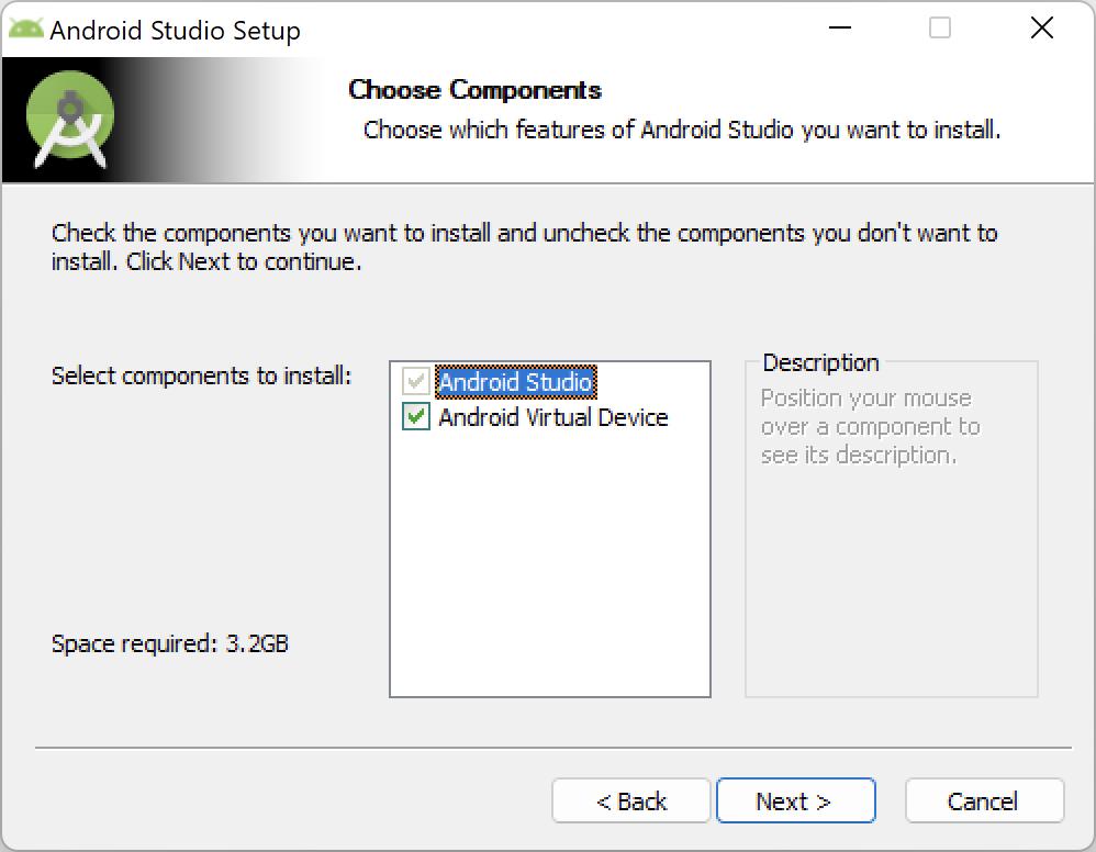 Android Studio Setup - Choose Components