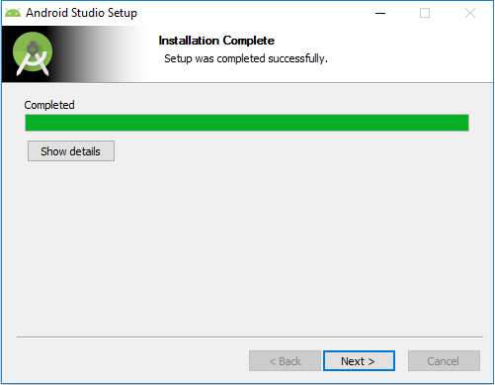 Android Studio Setup - Installation Complete