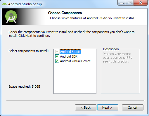 Choose Components - Download and Install Android