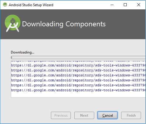 Downloading Components - Android Studio