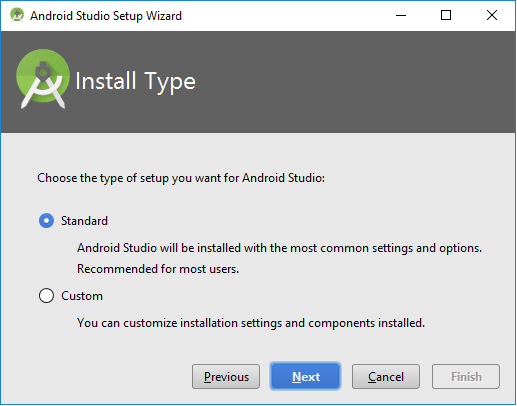 Install Type screen - Android Studio