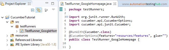 Create Cucumber Test Runner class - AutomationTestingHub