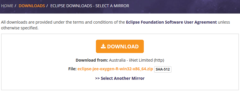 eclipse downloads - mirror selection