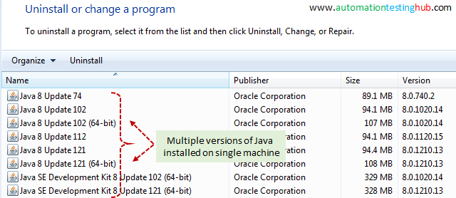 Multiple Java versions installed
