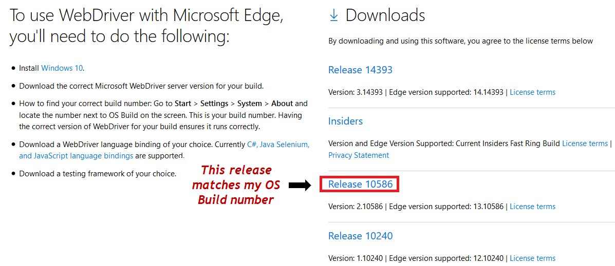 Selenium 3 - Launch Edge Browser with MicrosoftWebDriver