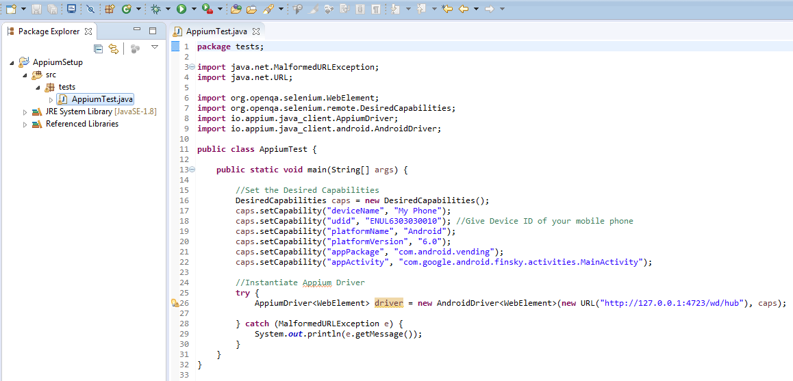First Appium Test Script to Launch App on Real Device